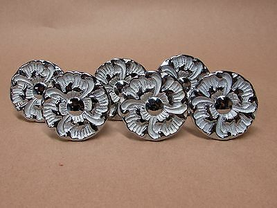 "Lot 6 Vintage French Provincial 2"" Flower Drawer Pulls Knobs w/Hardware"