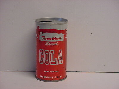 Vintage Farm House Cola Straight Steel Pull Tab Top Opened Soda Can