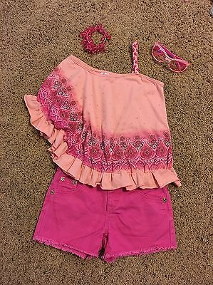 Girls Sz 8 Pink Denim Shorts & 2 Tops From Justice W/ Ponytail & Sunglasses