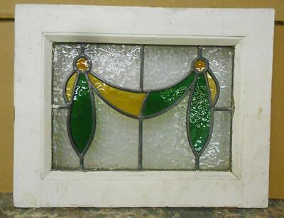 "OLD ENGLISH LEADED STAINED GLASS WINDOW Cute Little Swag Design 18.25"" x 14.25"""