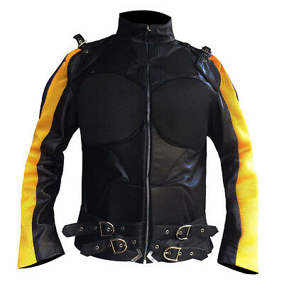 Men's Yellow & Blue Strips Tactical Style Real Leather Jacket - New Arrival