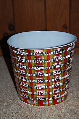 Vintage 1970s Life Savers Five Flavor Waste Basket Made with Real 1970s Wrappers