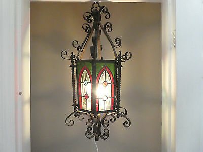 Antique French Gothic Wrought Iron Chandelier Lantern Coloured Stained Glass