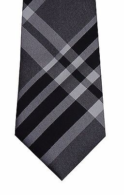 Kenneth Cole men neck tie necktie gray black Awesome Plaid 100% silk classic new