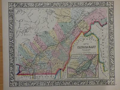 1860 hand-colored county map of Canada East by Mitchell, inset Montreal