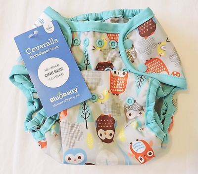 Blueberry One-Size Coverall Baby Nappy cover - NEW - grey owls