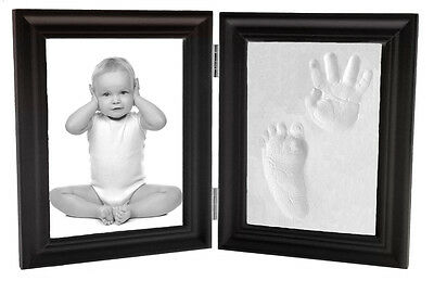 Proud Baby Clay Hand & Footprint Keepsake & Photo Bi-Fold Frame Kit - Expresso