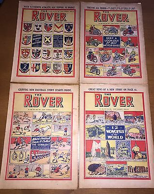 4 The Rover Comics From October & November 1950 #1320 1321 1322 & 1323