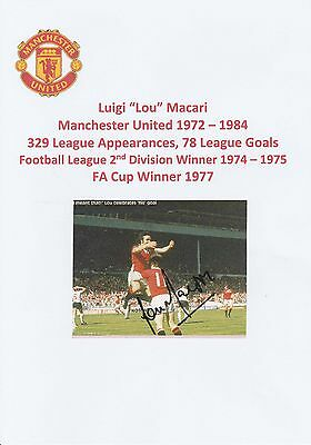 Lou Macari Manchester United 1972-1984 Original Hand Signed Magazine Cutting