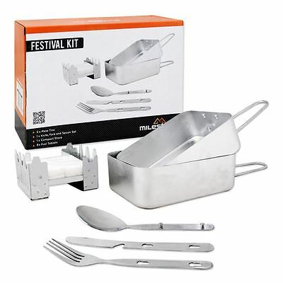 Festival Mini Cooking Camping Kit Essentials Mess Tins Cutlery Basic Stove