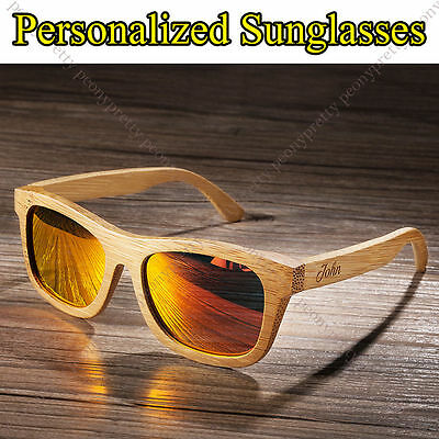 Personalised Bamboo Wooden Sunglasses Mirrored Lens Groomsmen Birthday Gift s