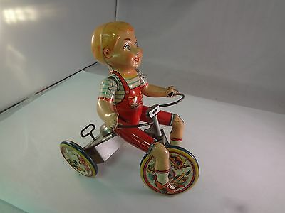 Antique 1930s Unique Art Kiddy Cyclist Mechanical Litho Wind Up Tin Toy  797-F