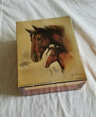 Ruane Manning Two Horses Litho Print  On Wooden Box 1994