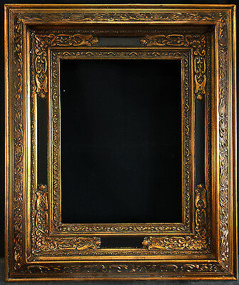 """Antique Reproduction Black and Gold Frame 12"""" x 16"""", 5"""" Wide, 2"""" Thick"""