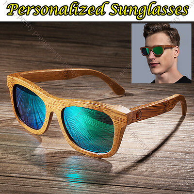 Personalised Bamboo Wooden Sunglasses Mirrored Lens Groomsmen Birthday Gift a