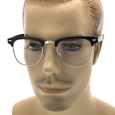 MENS LARGE Fashion Style Glasses Clear Lens Browline Half Frame Retro Nerd