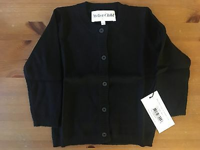 Nwt Atelier Child Black Cotton & Cashmere Classic Cardigan Sweater Size 1/2
