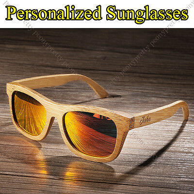 Personalised Bamboo Wooden Sunglasses Mirrored Lens Groomsmen Birthday Gift y