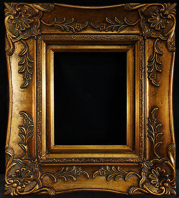 """Antique Reproduction Ornate Gold Frame 8"""" x 10"""", 4 1/2"""" Wide, 2"""" Thick"""