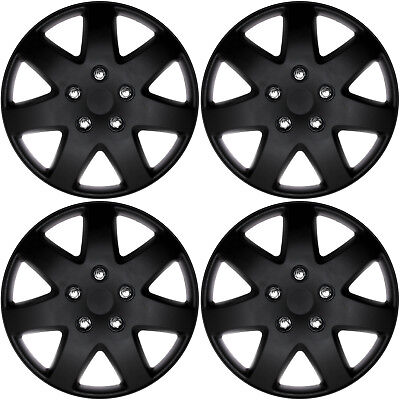 "4 Piece Set of 14"" Matte Black Hub Caps Cover for Steel Wheel Covers Cap"