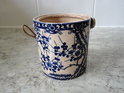 Small Old Antique ? Blue & White Chinese Pot With Straw Handle (Damaged)