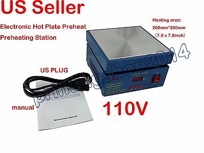 110V  Electronic Hot Plate Preheat Preheating Station Lab 800W 200*200mm