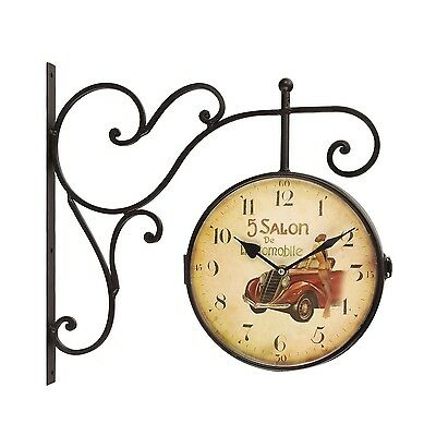 Retro Vintage-Inspired Round Wall Clock With Scroll Wall Mount Double Side