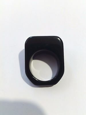 Vintage Handmade Art Deco Lucite Opaque Black Color Ring 1970S