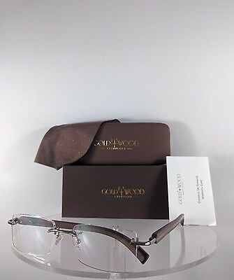 f2c62104a1b Brand New Authentic Gold   Wood R36 27 Bn27 Rimless Eyeglasses Brown Wood  Frame