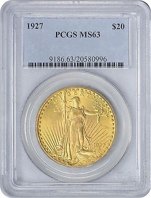 1927 $20 Twenty Dollar Gold MS63 PCGS St. Gaudens Mint State 63