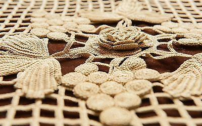 Intricate Crochet & Linen Pillow Cover Flower and Grapes