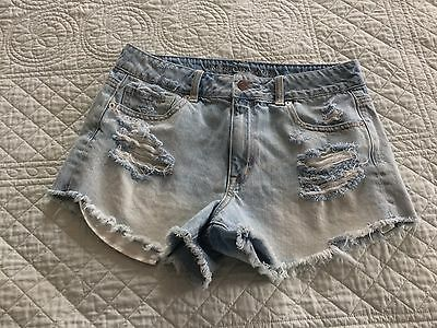 AMERICAN EAGLE Women's Cut Offs Jean Shorts Distressed Size 10 High Rise