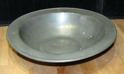 Antique Pewter Shallow Bowl, Lion & Urn Mark, Probably Continental, c. 1800