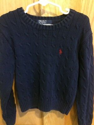 Boys Size 7 Classic Cable Knit Ralph Lauren Sweater, Navy Blue With Red Horse