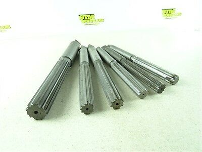 "Lot Of 6 Hss Hand Reamers 7/8"" To 1-3/8 Morse Standard Tool"