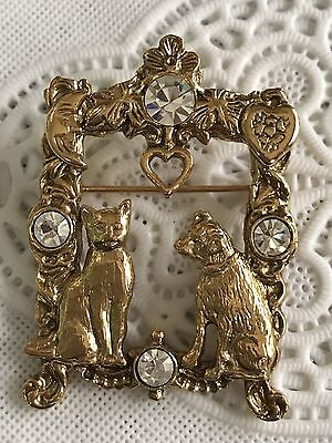 Vintage Cat & Dog Window Frame Rhinestone Heart Gold Tone Brooch Pin