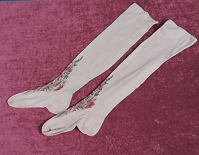 Victorian 19Th C Hand Embroidered Cotton Stockings As Found