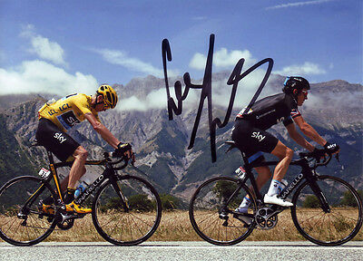 Geraint Thomas - Autographed - Signed 5X7 inches Cycling Sky Team Photo