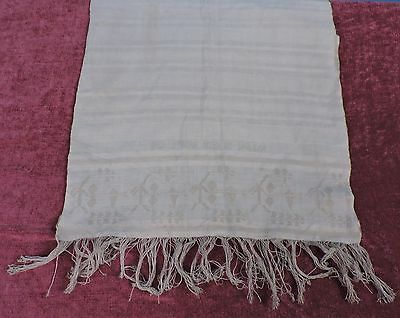 Antique 19Th C Long Hand Towel W Patterned Edges & Writing