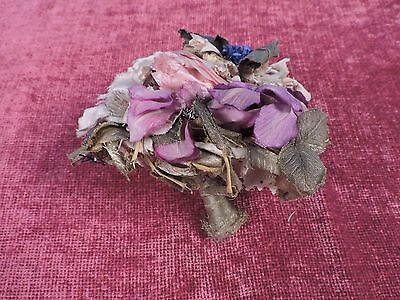 Antique 1920'S Floral Wedding Bouquet W Gold Lame Leaves And Base
