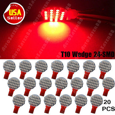 20PCS Pure Red T10 24SMD Car Interior Light Dome Map LED Light Bulbs W5W 168 194