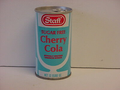 Vintage Staff Sugar Free Cherry Cola Straight Steel Pull Bottom Opened Soda Can