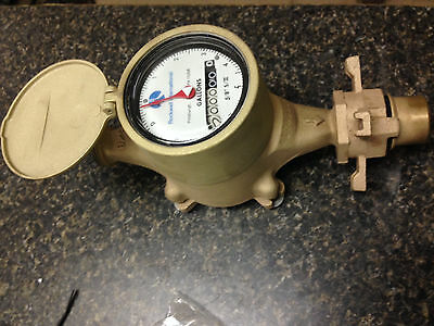 "ROCKWELL SR2 5/8"" Brass Water Meter NEW w/ 1 McD coupler"