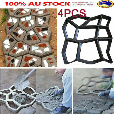 4Pcs Garden Path Making DIY Mould Patio Walkway Stepping Stone Road Maker Paver
