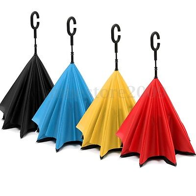 Waterproof C-Handle Reverse Big Double Layer Inverted Upside Down Fold Umbrella