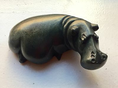 Large Heavy Hand-carved Stone Hippopotamus Sculpture 7.5""
