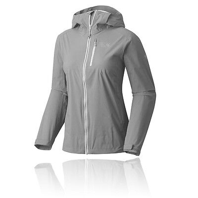 Mountain Hardwear Womens Grey Waterproof Hoody Hooded Hiking Jacket Top