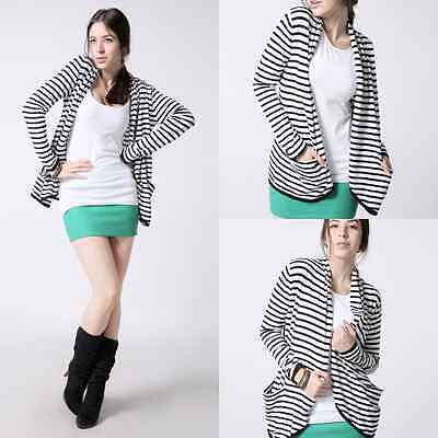 NEW Women Long Sleeve Loose Cardigan Striped Sweater Shawl Jacket Coat Outwear