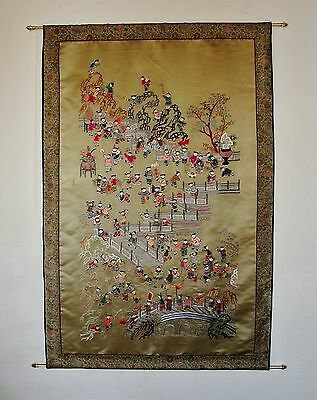 """Chinese Embroiderd Wall Hanging Tapestry (50"""" X 33"""")"""
