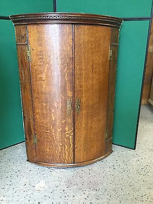 Antique Georgian Oak Bow Fronted Wall Hanging Corner Cupboard